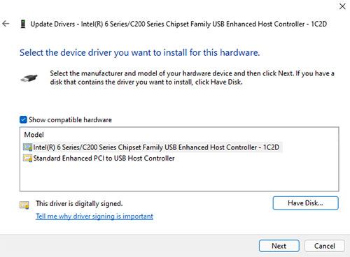 chọn driver có sẵn hoặc có sẵn trong ổ cứng