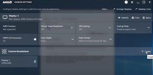 Tại thẻ Custom Resolutions các bạn click vào create