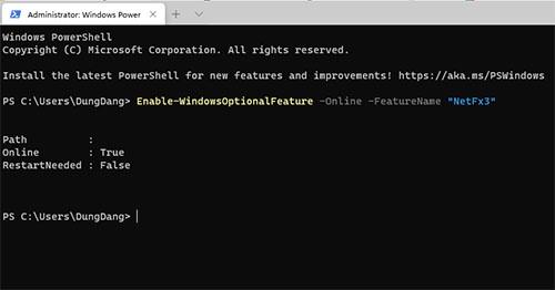 Cài thành công Cú pháp cài NET Framework 3.5