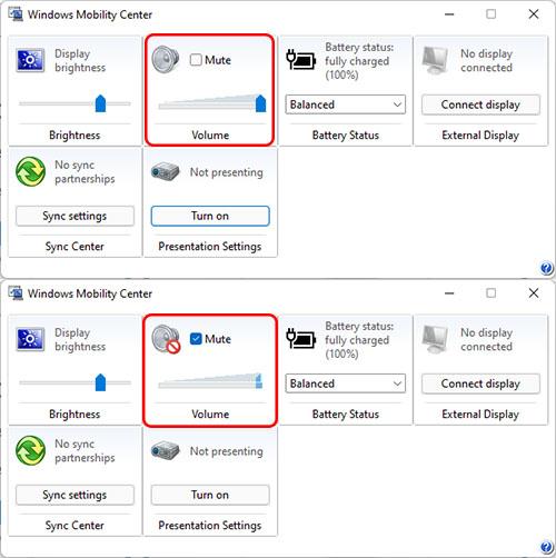 Thay đổi âm lượng trong Windows Mobility Center