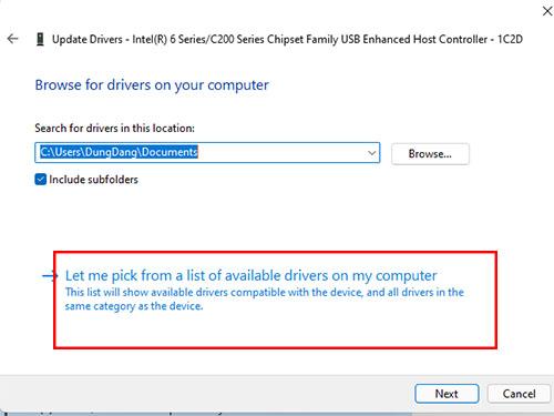 cài đặt driver có sẵn trong windows