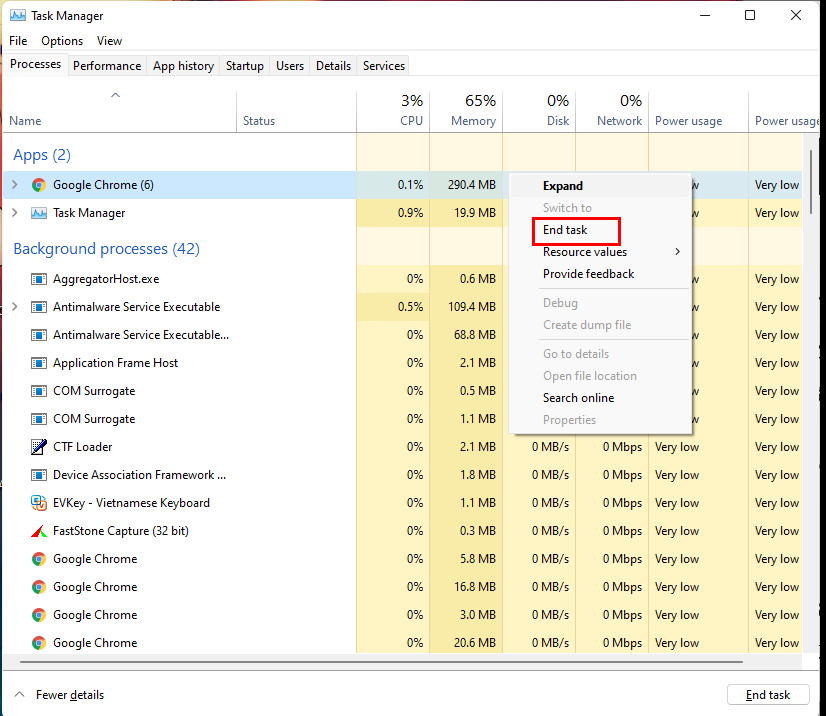 Dùng tổ hợp phím Ctrl + Shift + Esc để mở task manager