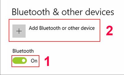 bật bluetooth và tìm kiếm thiết bị mới