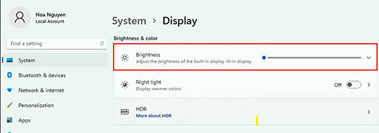 Change Brightness laptop win 11