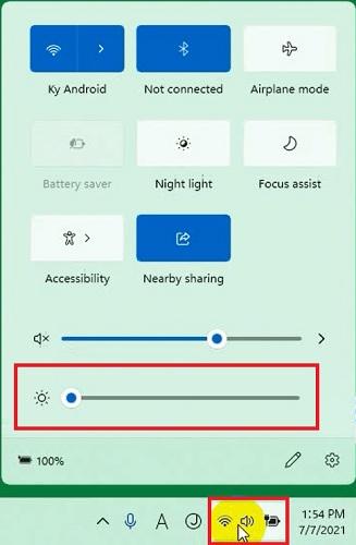 Chỉnh độ sáng màn hình trên Windows 11