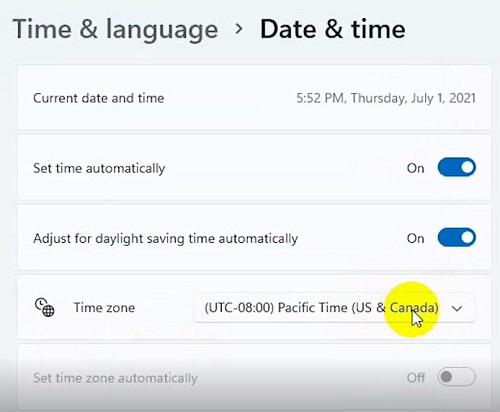 Date & Times trên Windows 11