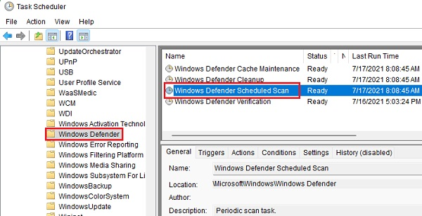 Thay đổi lịch chạy Windows Defender bằng task scheduler