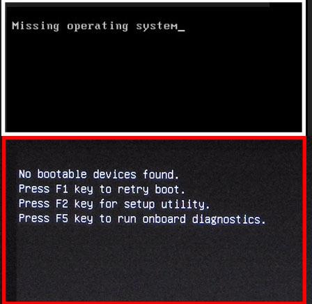 Màn hình lỗi Miss operating system và no bootable devices