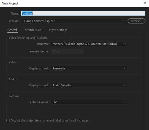 Tạo project Adobe Premiere