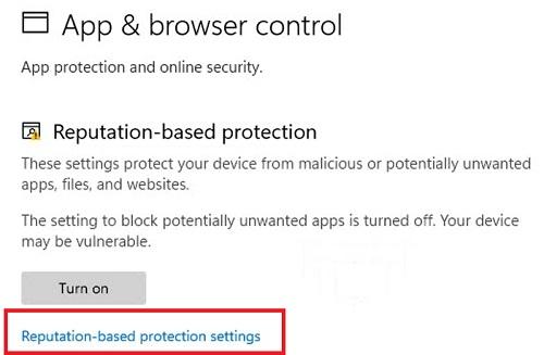 reputation-based protection settings