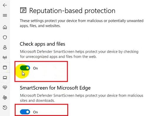 Bật tắt Windows SmartScreen
