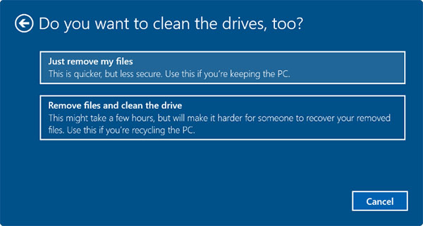 Do you want to clean the drives, too windows 11