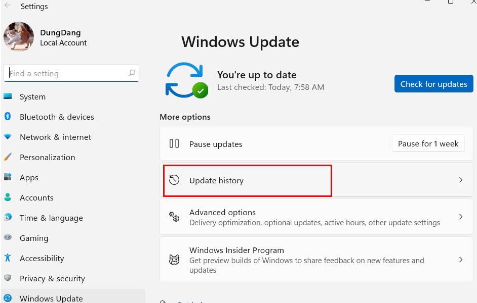 kiểm tra lịch sử cập nhật windows