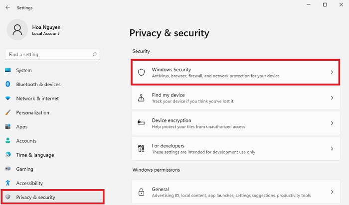 setting privacy security