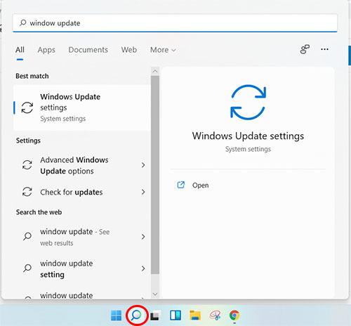 Mở Windows update