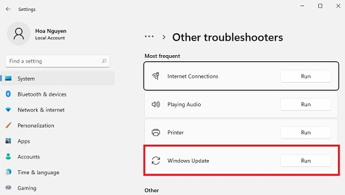 Troubleshoot other setting