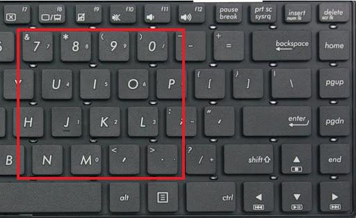 những phím không gõ được ký tự do bật numlock