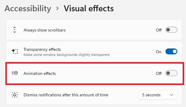 Tắt hiệu ứng chuyển cảnh Visual Effect WIndows 11