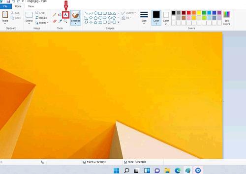 Công cụ viết chữ trong Paint hình chữ A