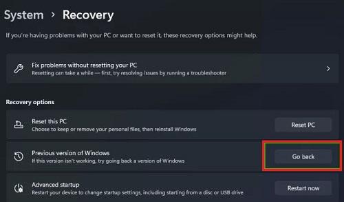 Gỡ cài dặt Windows 11 về Windows 10