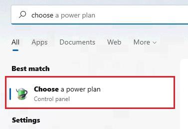 Cài đặt Choose a power plan
