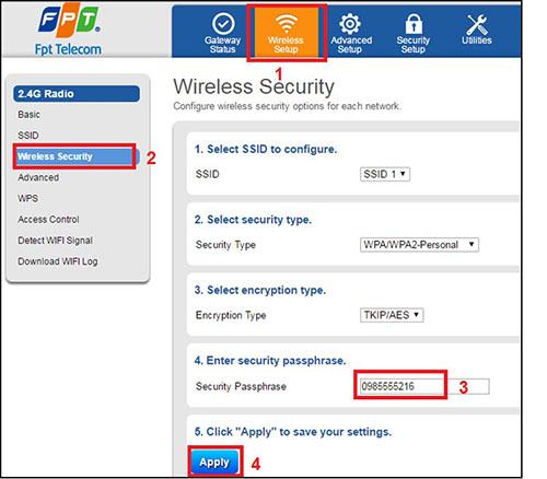 Thay đổi mật khẩu wifi FPT