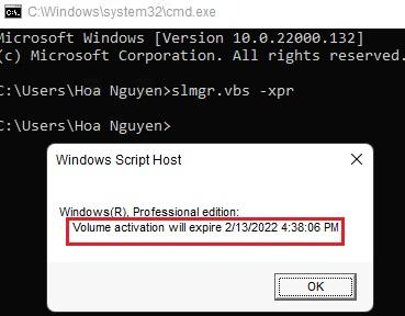 Kiểm tra hạn sử dụng key windows 11