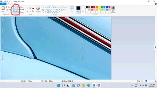 Công cụ Select trong phần mềm Paint trong Windows 11