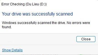 Kiểm tra lỗi ổ đĩa thành công