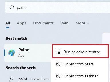 run as admin ứng dụng trong start Menu
