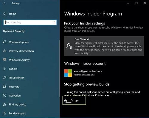 Tắt cập nhật Windows 11 insider
