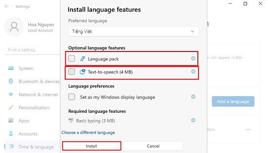 Thêm ngôn ngữ tiếng việt windows 11