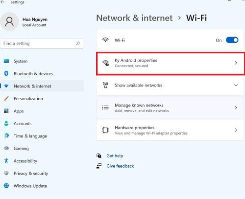 chọn mạng wifi bạn muốn ngăn kết nối tự động