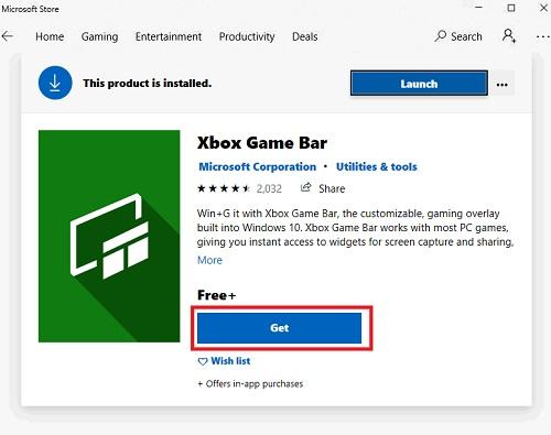 tải Xbox Game Bar trong cửa hàng Microsoft store