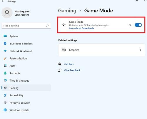 bật chế độ game mode cho windows 11
