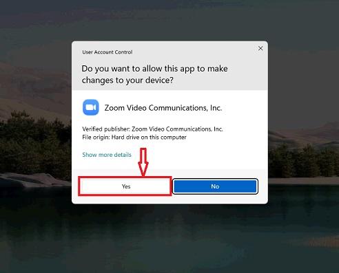 Xác nhận cài đặt Zoom trên windows 11