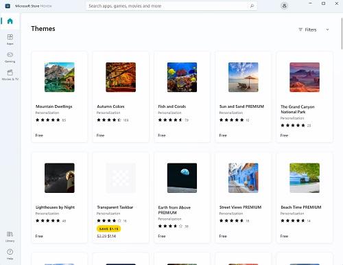 chọn các themes trong store