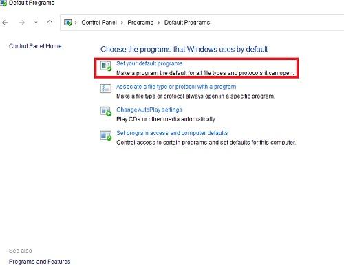 set your default programs