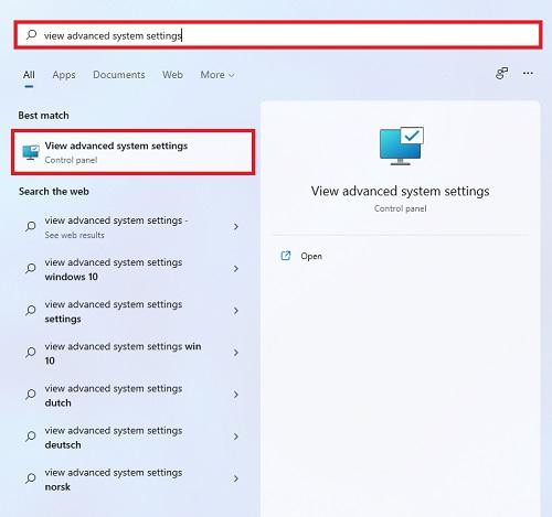 dùng công cụ tìm kiếm View Advanced system setting