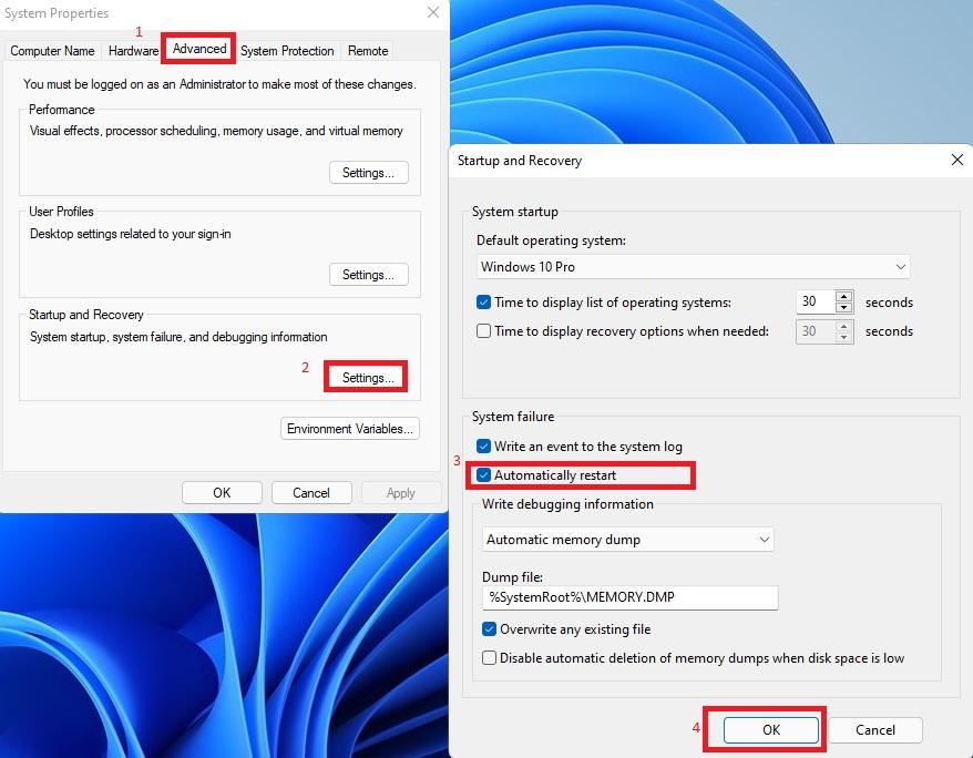 tắt automatically restart, tự động tắt máy windows 11