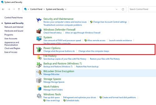 chọn power options windows 11