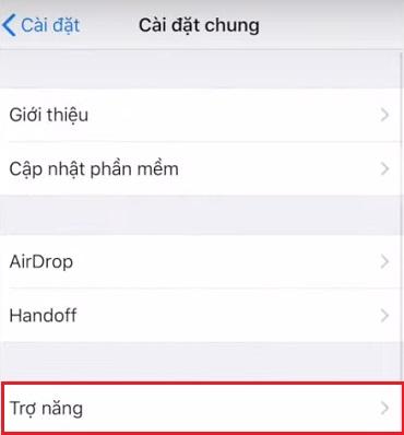 Trợ năng cài đặt chung Iphone