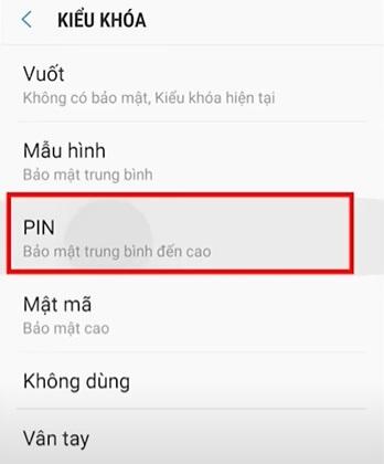 Đặt mật khẩu mã Pin