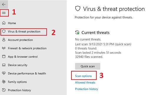 Tùy chọn quét virus