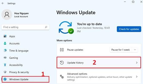 Xem lịch sử cập nhật windows 11