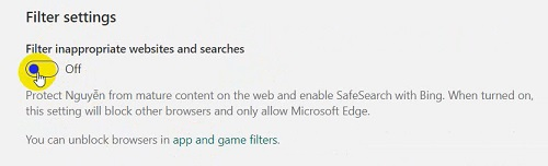 Filter setting giới hạn tìm kiếm