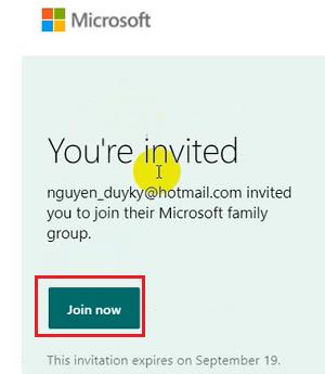Đồng ý lời mời làm thành viên gia đình