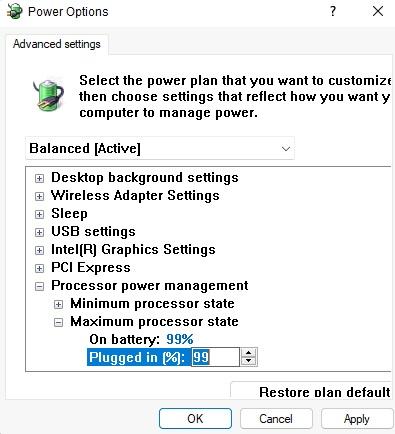 Giới hạn hiệu năng máy tính windows 11