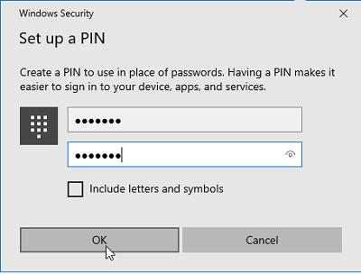 Đặt mã pin mật khẩu cho nick 2