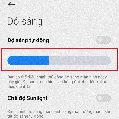 cách tăng/giảm độ sáng màn hình điện thoại xiaomi